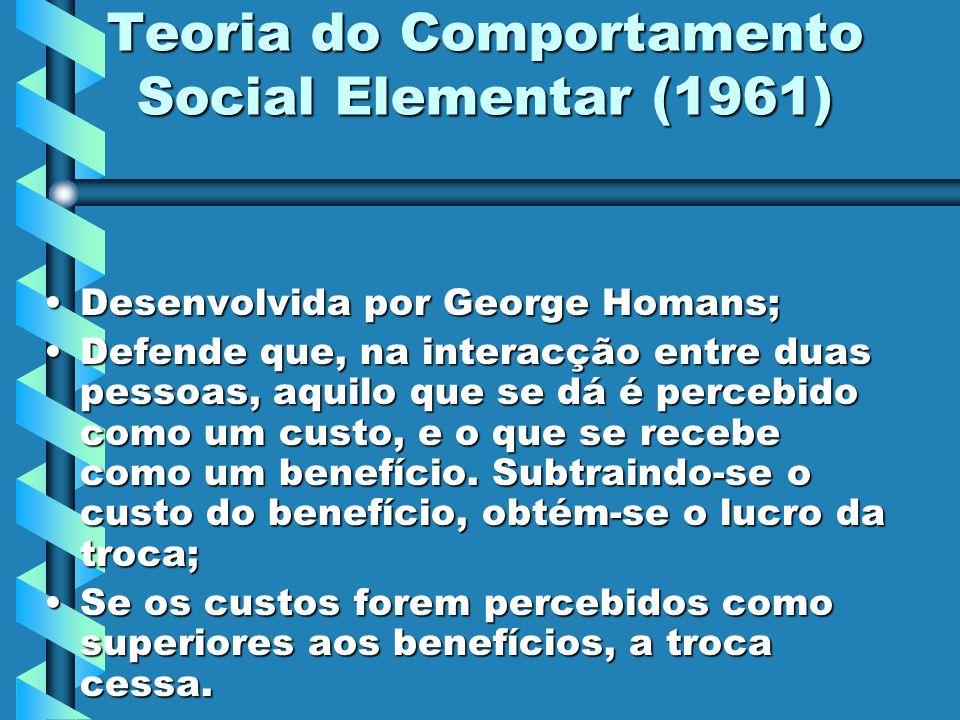 Teoria do Comportamento Social Elementar (1961) Desenvolvida por George Homans;Desenvolvida por George Homans; Defende que, na interacção entre duas p