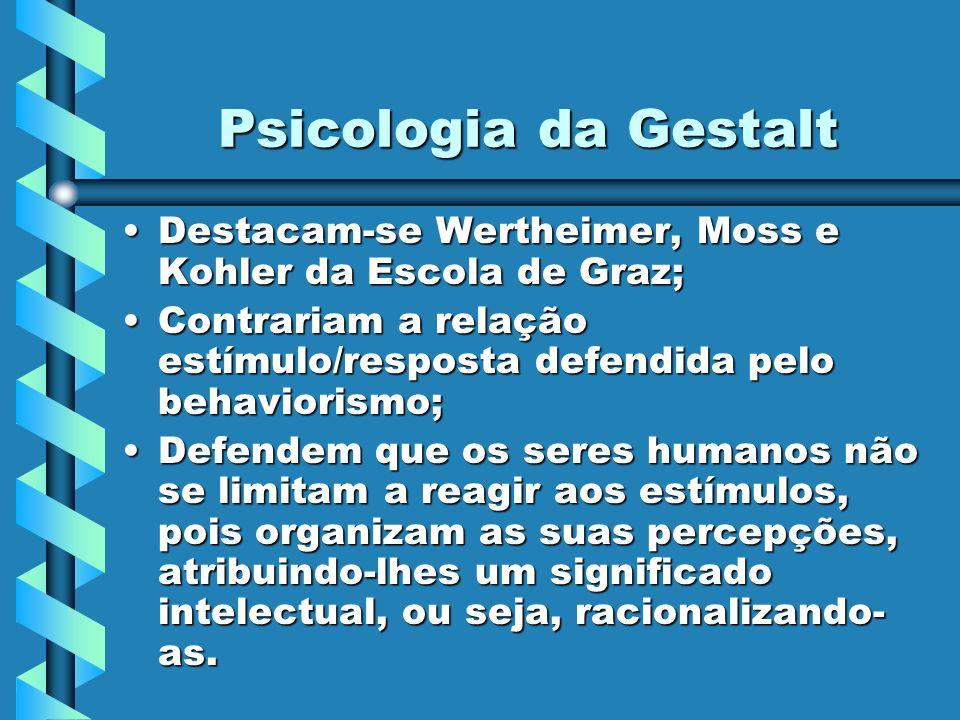 Psicologia da Gestalt Destacam-se Wertheimer, Moss e Kohler da Escola de Graz;Destacam-se Wertheimer, Moss e Kohler da Escola de Graz; Contrariam a re