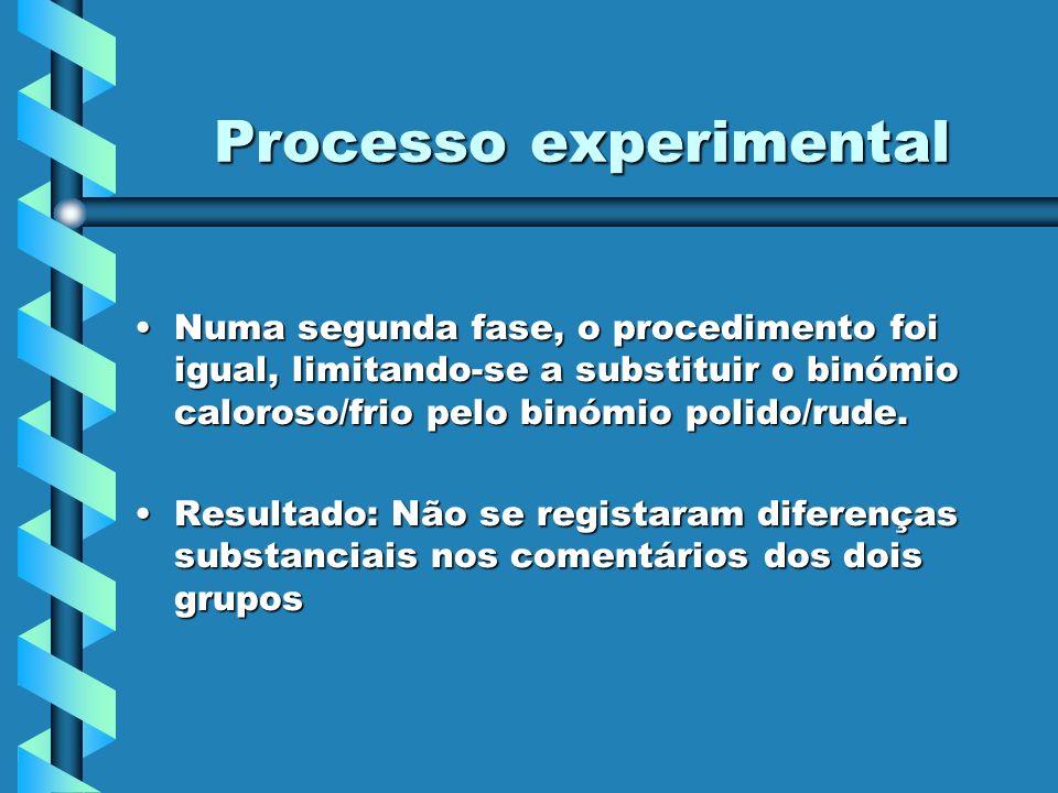 Processo experimental Numa segunda fase, o procedimento foi igual, limitando-se a substituir o binómio caloroso/frio pelo binómio polido/rude.Numa seg