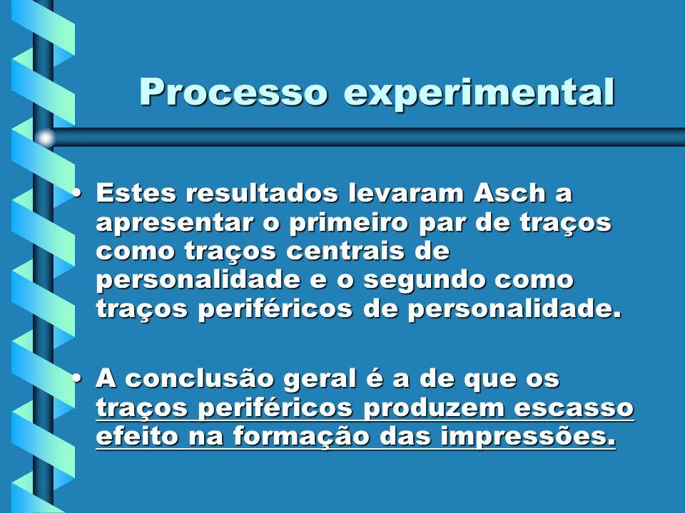 Processo experimental Estes resultados levaram Asch a apresentar o primeiro par de traços como traços centrais de personalidade e o segundo como traço