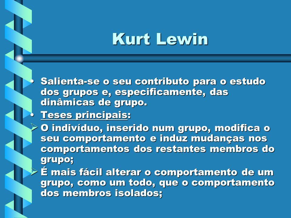 Kurt Lewin Salienta-se o seu contributo para o estudo dos grupos e, especificamente, das dinâmicas de grupo.Salienta-se o seu contributo para o estudo