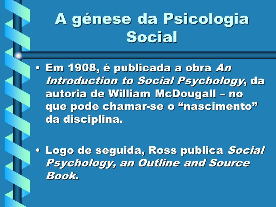 A génese da Psicologia Social Há, todavia, uma clara divergência entre os dois autores:Há, todavia, uma clara divergência entre os dois autores: McDougall afirma a primazia do instinto, na vida colectiva.McDougall afirma a primazia do instinto, na vida colectiva.