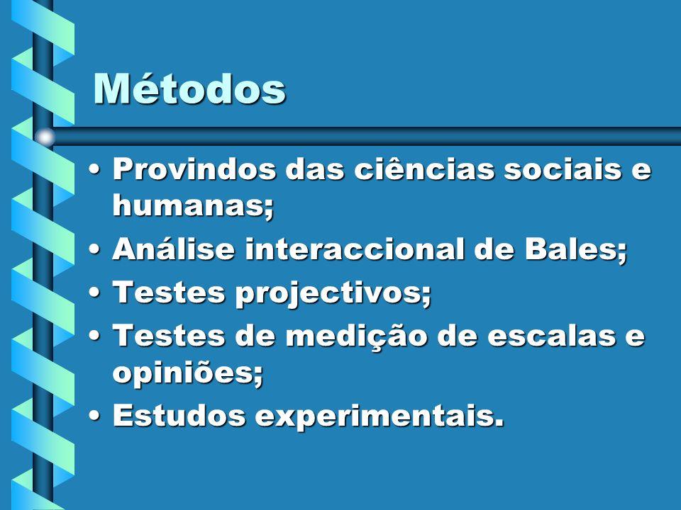 Métodos Provindos das ciências sociais e humanas;Provindos das ciências sociais e humanas; Análise interaccional de Bales;Análise interaccional de Bal