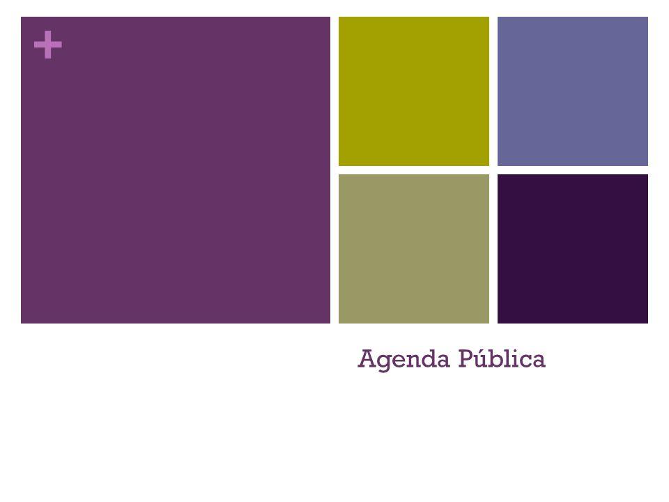 + É a agenda, a lista de tópicos que suscitam o interesse de: Público; Opinião Pública; Opinião de Massas; Sociedade Civil (sociedade estabelecida com base no direito, Immanuel Kant).