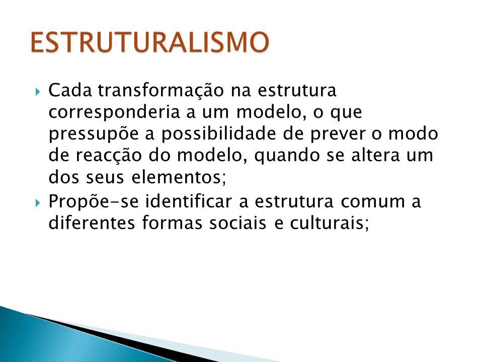 Cada transformação na estrutura corresponderia a um modelo, o que pressupõe a possibilidade de prever o modo de reacção do modelo, quando se altera um dos seus elementos; Propõe-se identificar a estrutura comum a diferentes formas sociais e culturais;