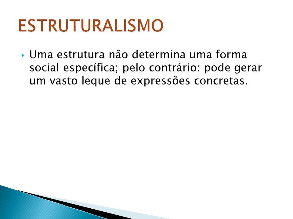 Uma estrutura não determina uma forma social específica; pelo contrário: pode gerar um vasto leque de expressões concretas.