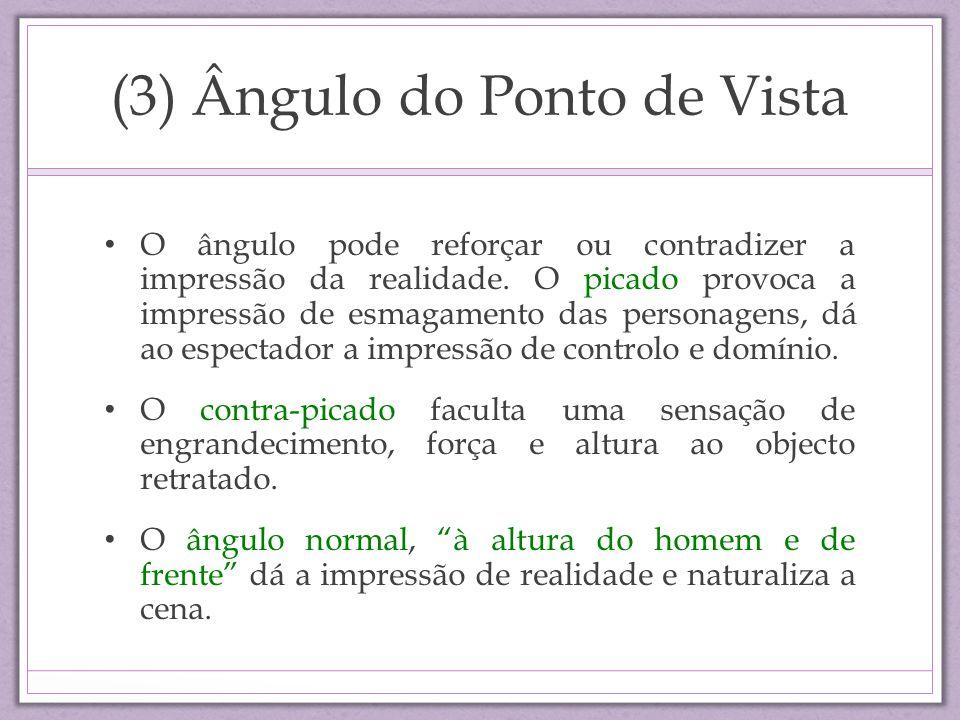 (3) Ângulo do Ponto de Vista O ângulo pode reforçar ou contradizer a impressão da realidade. O picado provoca a impressão de esmagamento das personage