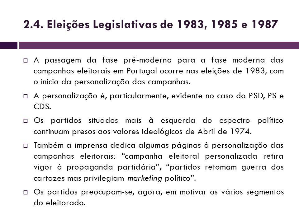 2.4. Eleições Legislativas de 1983, 1985 e 1987 A passagem da fase pré-moderna para a fase moderna das campanhas eleitorais em Portugal ocorre nas ele