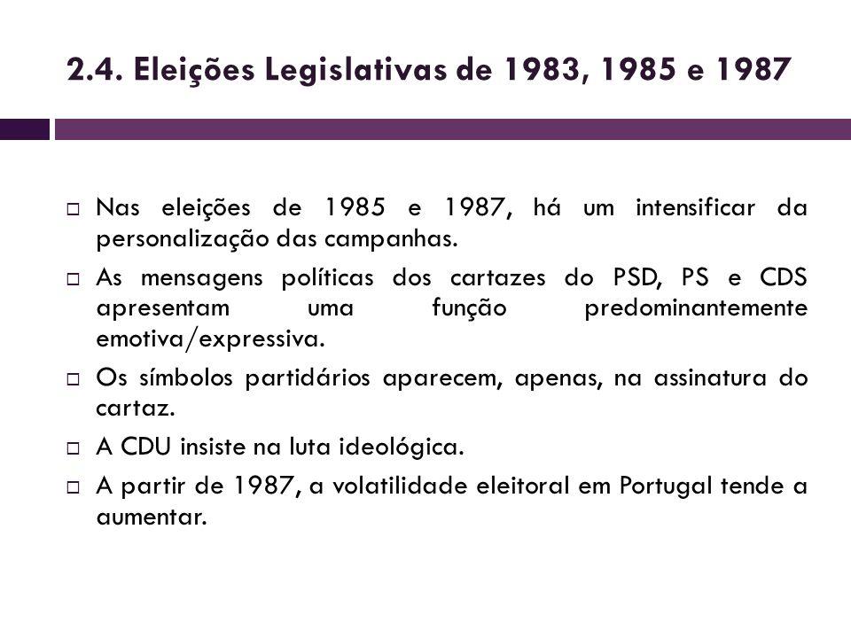 2.4. Eleições Legislativas de 1983, 1985 e 1987 Nas eleições de 1985 e 1987, há um intensificar da personalização das campanhas. As mensagens política
