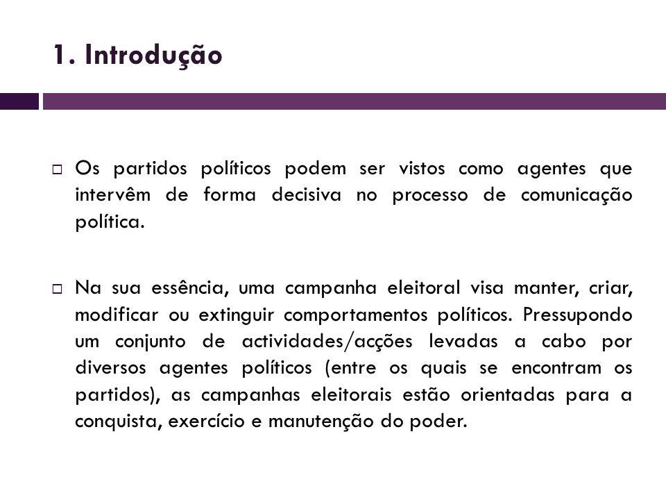 1. Introdução Os partidos políticos podem ser vistos como agentes que intervêm de forma decisiva no processo de comunicação política. Na sua essência,