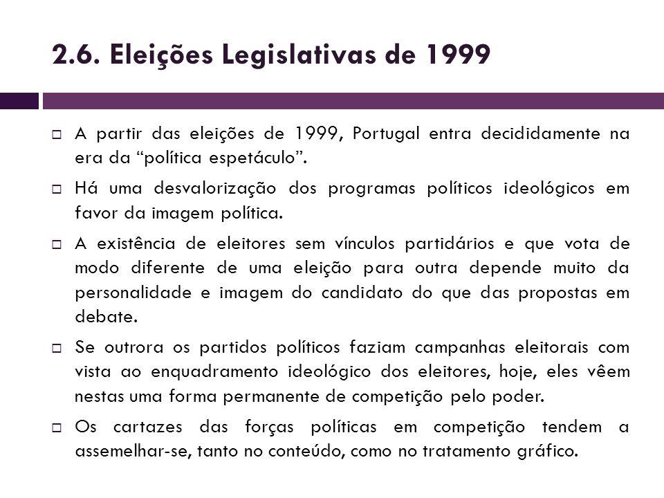 A partir das eleições de 1999, Portugal entra decididamente na era da política espetáculo. Há uma desvalorização dos programas políticos ideológicos e