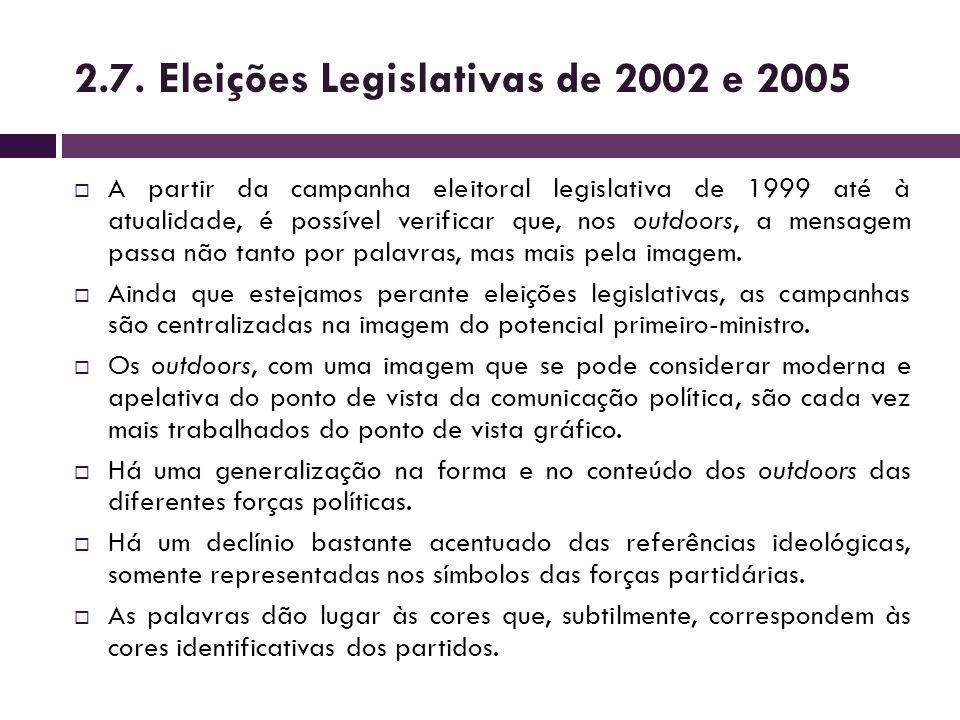 A partir da campanha eleitoral legislativa de 1999 até à atualidade, é possível verificar que, nos outdoors, a mensagem passa não tanto por palavras,