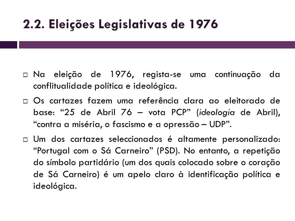 Na eleição de 1976, regista-se uma continuação da conflitualidade política e ideológica. Os cartazes fazem uma referência clara ao eleitorado de base:
