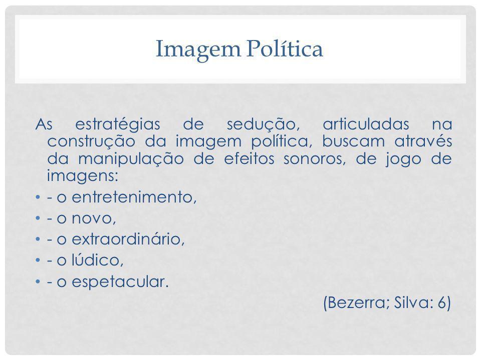 Imagem Política As estratégias de sedução, articuladas na construção da imagem política, buscam através da manipulação de efeitos sonoros, de jogo de