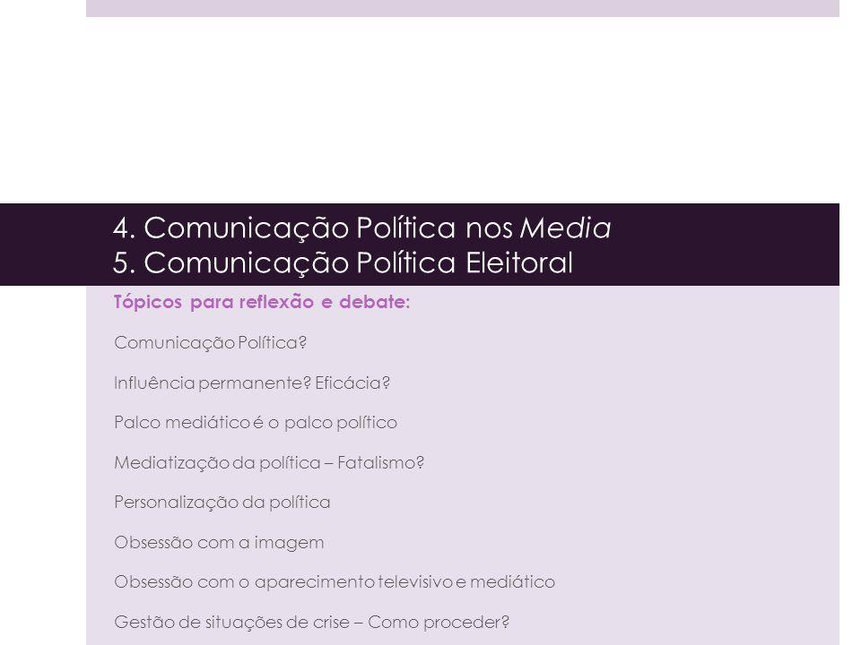 4. Comunicação Política nos Media 5. Comunicação Política Eleitoral Tópicos para reflexão e debate: Comunicação Política? Influência permanente? Eficá