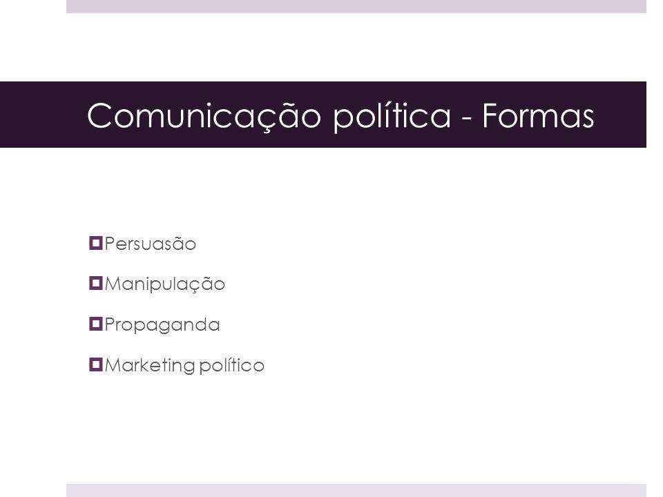 Comunicação política - Formas Persuasão Manipulação Propaganda Marketing político