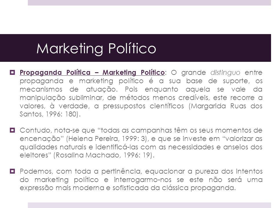 Marketing Político Propaganda Política – Marketing Político : O grande distinguo entre propaganda e marketing político é a sua base de suporte, os mec