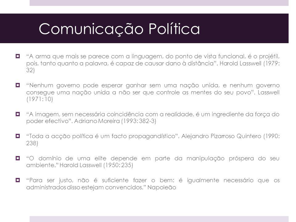 Comunicação Política A arma que mais se parece com a linguagem, do ponto de vista funcional, é o projétil, pois, tanto quanto a palavra, é capaz de ca