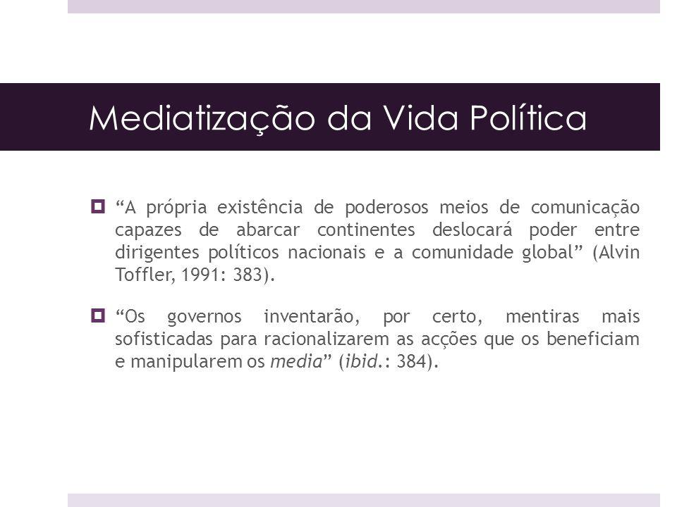 Mediatização da Vida Política A própria existência de poderosos meios de comunicação capazes de abarcar continentes deslocará poder entre dirigentes p