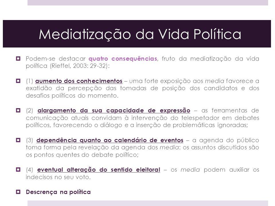 Mediatização da Vida Política Podem-se destacar quatro consequências, fruto da mediatização da vida política (Rieffel, 2003: 29-32): (1) aumento dos c