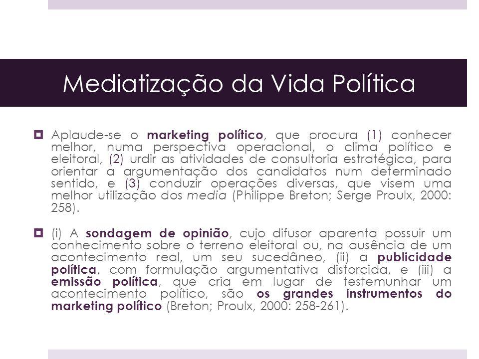 Mediatização da Vida Política Aplaude-se o marketing político, que procura (1) conhecer melhor, numa perspectiva operacional, o clima político e eleit