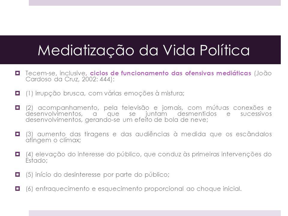 Mediatização da Vida Política Tecem-se, inclusive, ciclos de funcionamento das ofensivas mediáticas (João Cardoso da Cruz, 2002: 444): (1) irrupção br