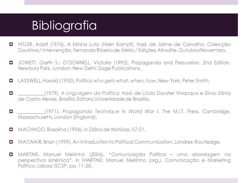 Bibliografia HITLER, Adolf (1976), A Minha Luta (Mein Kampf), trad. de Jaime de Carvalho, Colecção Doutrina / Intervenção, Fernando Ribeiro de Mello /