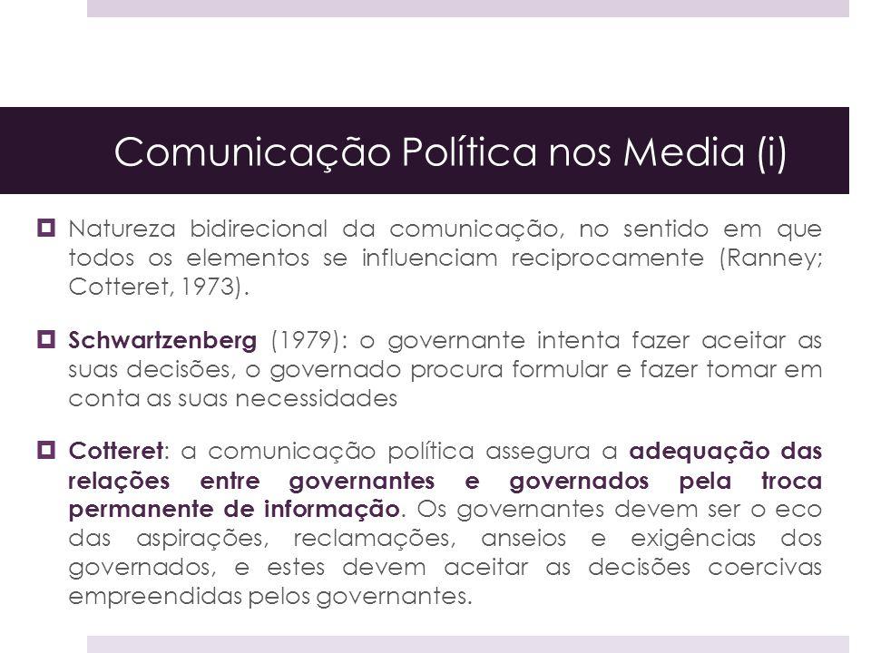 Comunicação Política nos Media (i) Natureza bidirecional da comunicação, no sentido em que todos os elementos se influenciam reciprocamente (Ranney; C