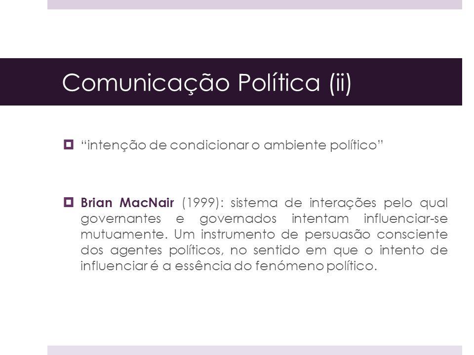 Comunicação Política (ii) intenção de condicionar o ambiente político Brian MacNair (1999): sistema de interações pelo qual governantes e governados i