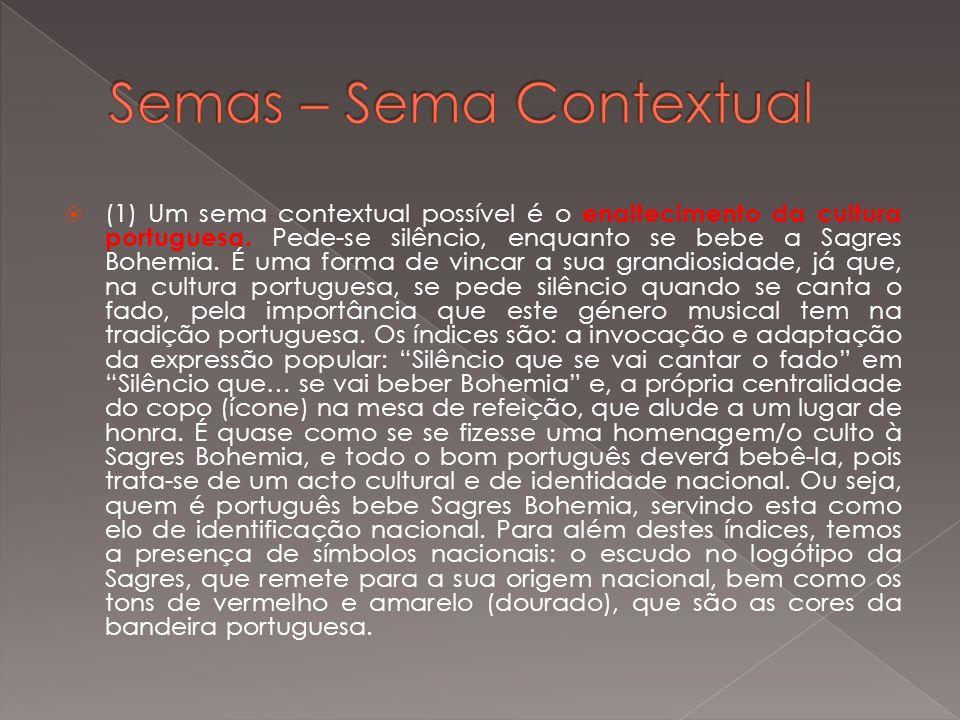 (1) Um sema contextual possível é o enaltecimento da cultura portuguesa. Pede-se silêncio, enquanto se bebe a Sagres Bohemia. É uma forma de vincar a