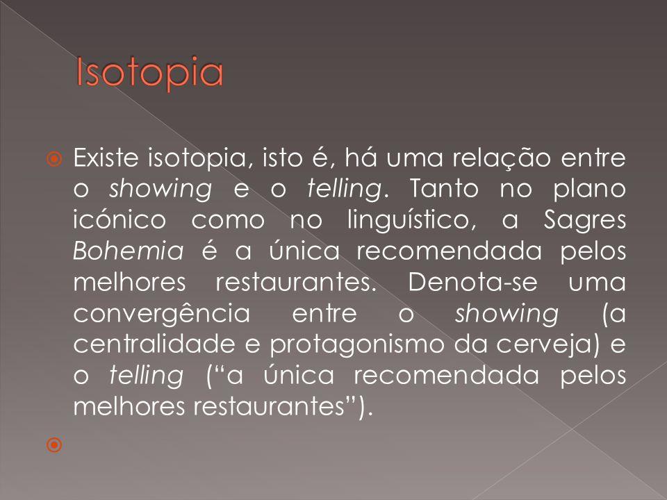 Existe isotopia, isto é, há uma relação entre o showing e o telling. Tanto no plano icónico como no linguístico, a Sagres Bohemia é a única recomendad