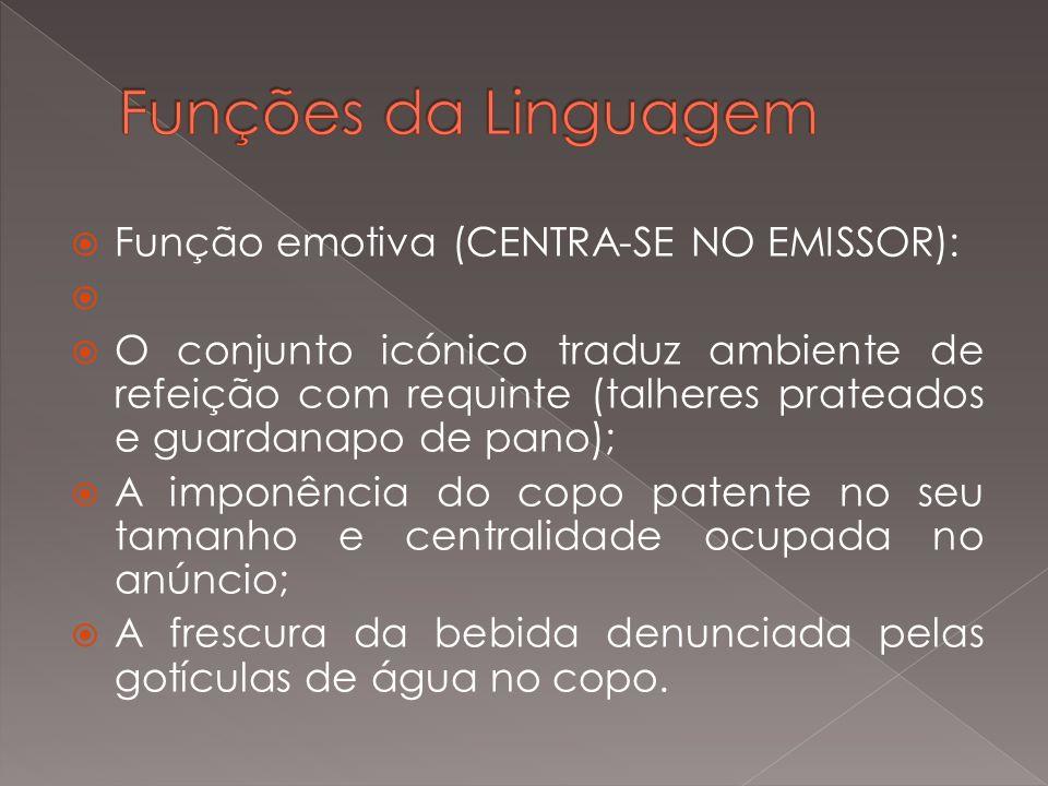 Função metalinguística: Sagres Bohemia = cultura + requinte + sofisticação + unicidade + frescura + portugalidade + grandiosidade + tradição