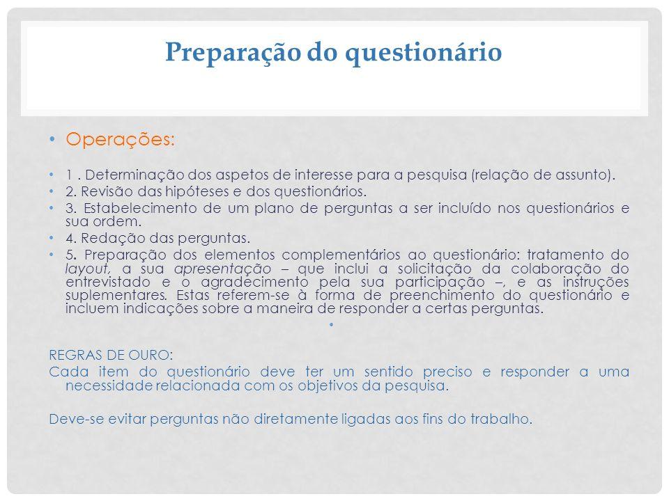 Preparação do questionário Operações: 1. Determinação dos aspetos de interesse para a pesquisa (relação de assunto). 2. Revisão das hipóteses e dos qu