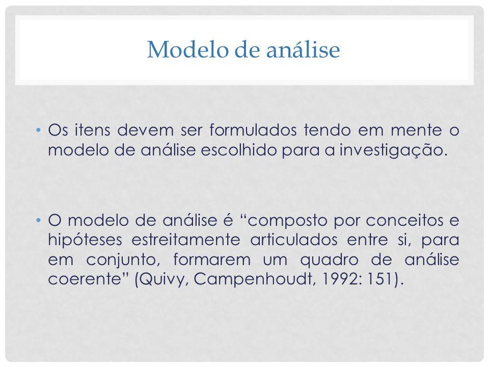 Modelo de análise Os itens devem ser formulados tendo em mente o modelo de análise escolhido para a investigação. O modelo de análise é composto por c