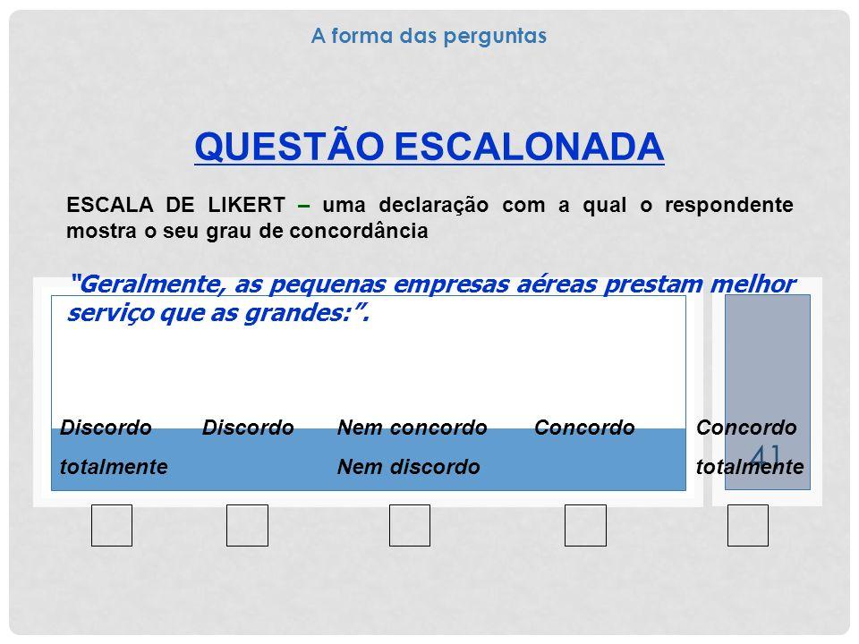 41 QUESTÃO ESCALONADA ESCALA DE LIKERT – uma declaração com a qual o respondente mostra o seu grau de concordância Geralmente, as pequenas empresas aé