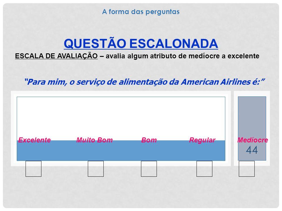 44 QUESTÃO ESCALONADA ESCALA DE AVALIAÇÃO – avalia algum atributo de medíocre a excelente Para mim, o serviço de alimentação da American Airlines é: E