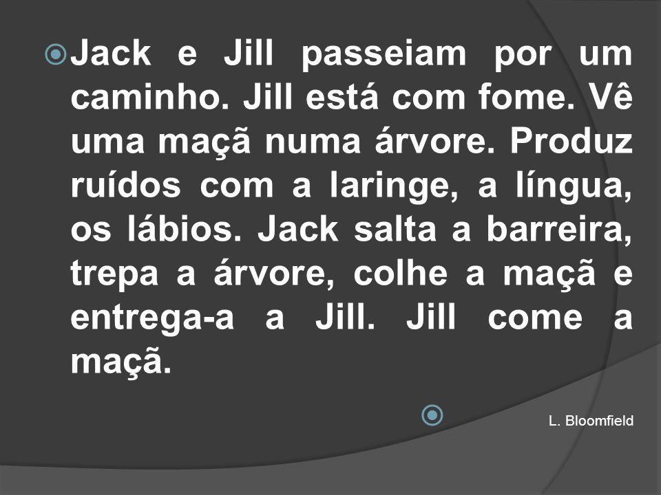 Jack e Jill passeiam por um caminho. Jill está com fome. Vê uma maçã numa árvore. Produz ruídos com a laringe, a língua, os lábios. Jack salta a barre