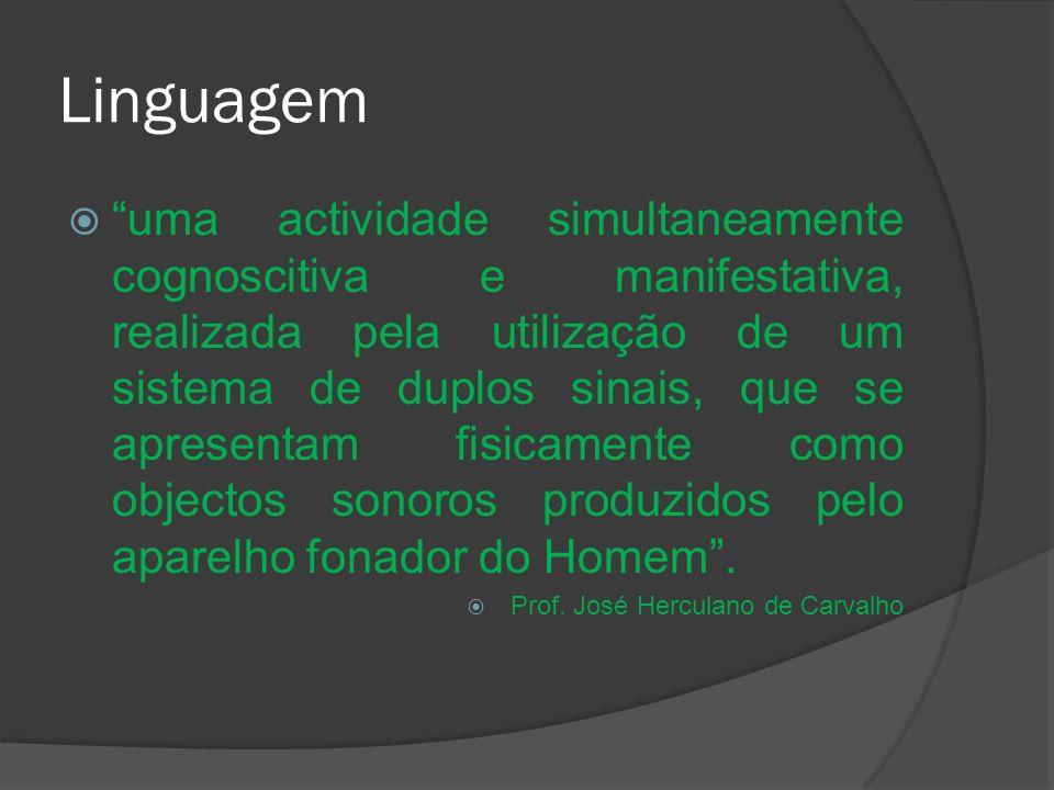 Linguagem uma actividade simultaneamente cognoscitiva e manifestativa, realizada pela utilização de um sistema de duplos sinais, que se apresentam fis