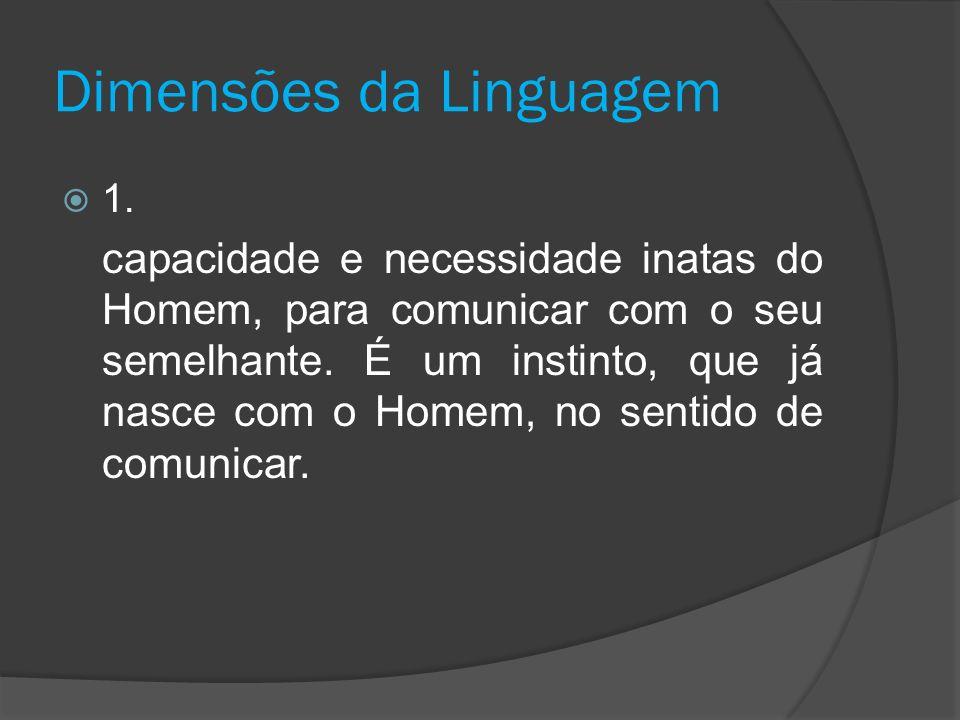 Dimensões da Linguagem 1. capacidade e necessidade inatas do Homem, para comunicar com o seu semelhante. É um instinto, que já nasce com o Homem, no s