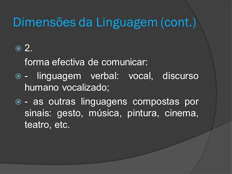 Dimensões da Linguagem (cont.) 2. forma efectiva de comunicar: - linguagem verbal: vocal, discurso humano vocalizado; - as outras linguagens compostas