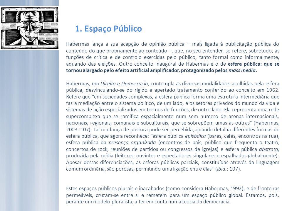 1. Espaço Público Habermas lança a sua acepção de opinião pública – mais ligada à publicitação pública do conteúdo do que propriamente ao conteúdo –,