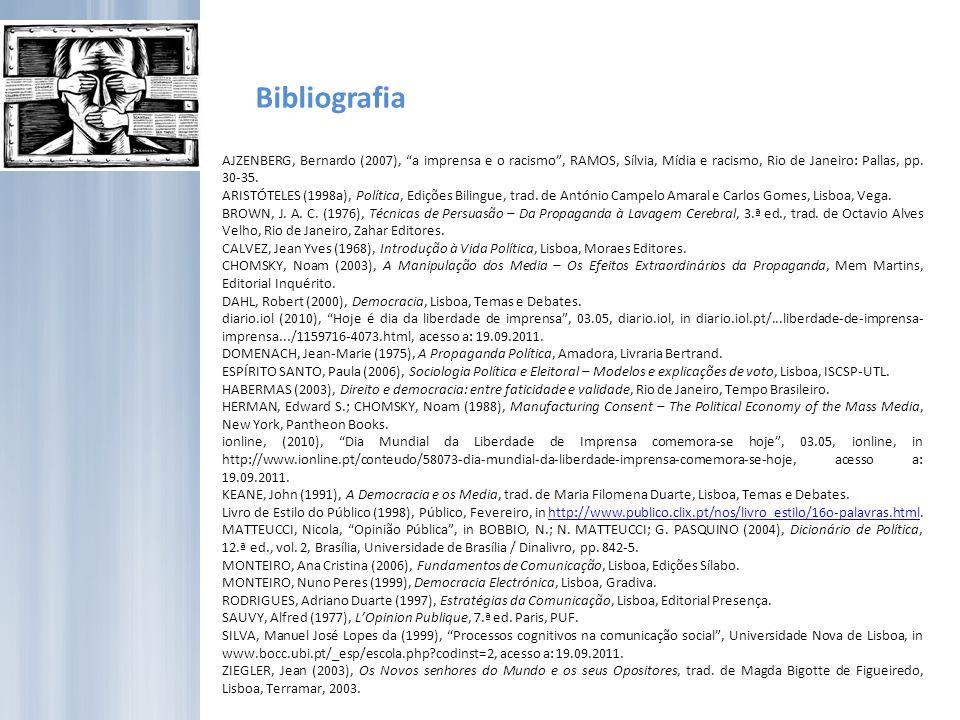 Bibliografia AJZENBERG, Bernardo (2007), a imprensa e o racismo, RAMOS, Sílvia, Mídia e racismo, Rio de Janeiro: Pallas, pp.