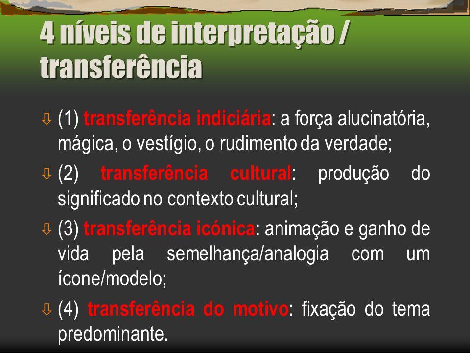 4 níveis de interpretação / transferência ò (1) transferência indiciária : a força alucinatória, mágica, o vestígio, o rudimento da verdade; ò (2) tra