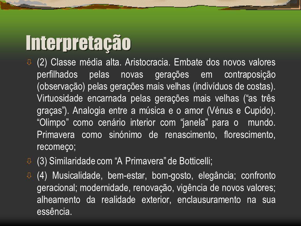 Interpretação ò (2) Classe média alta.Aristocracia.