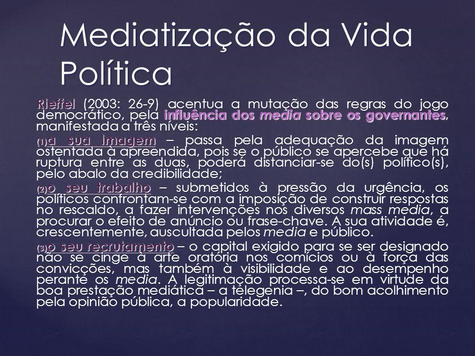 Rieffel (2003: 26-9) acentua a mutação das regras do jogo democrático, pela influência dos media sobre os governantes, manifestada a três níveis: (1)