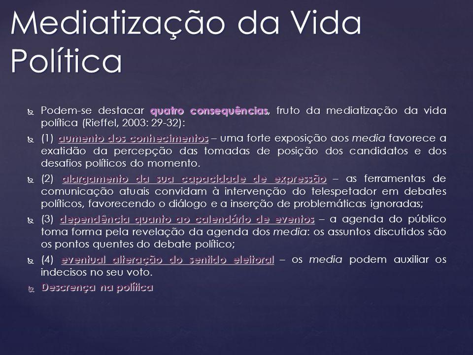 Podem-se destacar quatro consequências, fruto da mediatização da vida política (Rieffel, 2003: 29-32): Podem-se destacar quatro consequências, fruto d