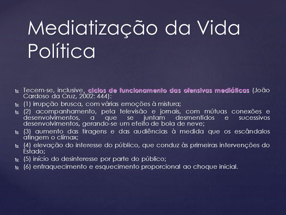 Tecem-se, inclusive, ciclos de funcionamento das ofensivas mediáticas (João Cardoso da Cruz, 2002: 444): Tecem-se, inclusive, ciclos de funcionamento