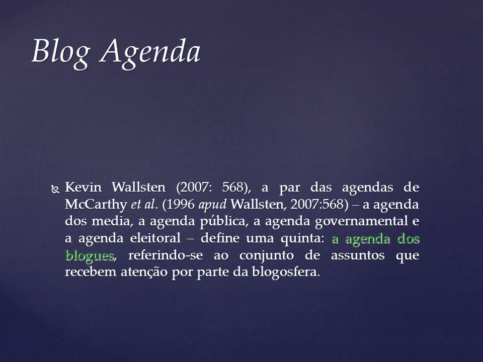 Kevin Wallsten (2007: 568), a par das agendas de McCarthy et al. (1996 apud Wallsten, 2007:568) – a agenda dos media, a agenda pública, a agenda gover