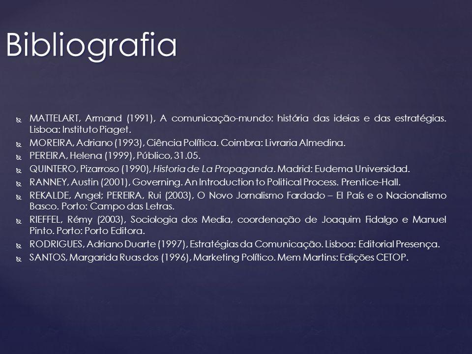 MATTELART, Armand (1991), A comunicação-mundo: história das ideias e das estratégias. Lisboa: Instituto Piaget. MATTELART, Armand (1991), A comunicaçã