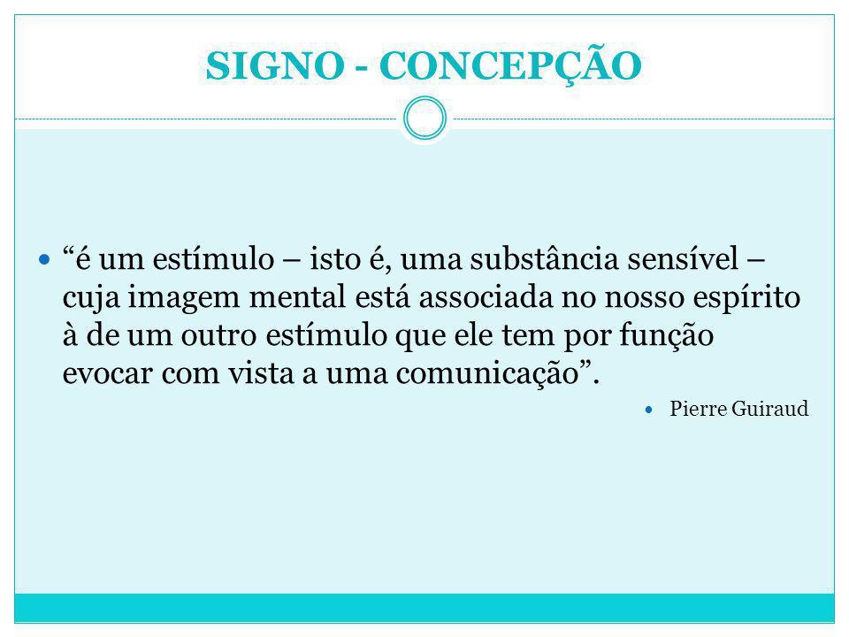 SIGNO - CONCEPÇÃO é um estímulo – isto é, uma substância sensível – cuja imagem mental está associada no nosso espírito à de um outro estímulo que ele